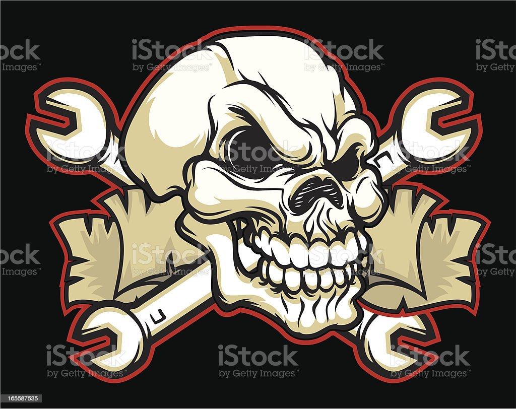 Skull Wrench vector art illustration