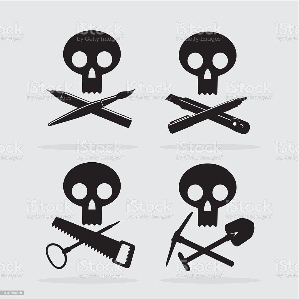 skull_and_crosstools_icons vector art illustration