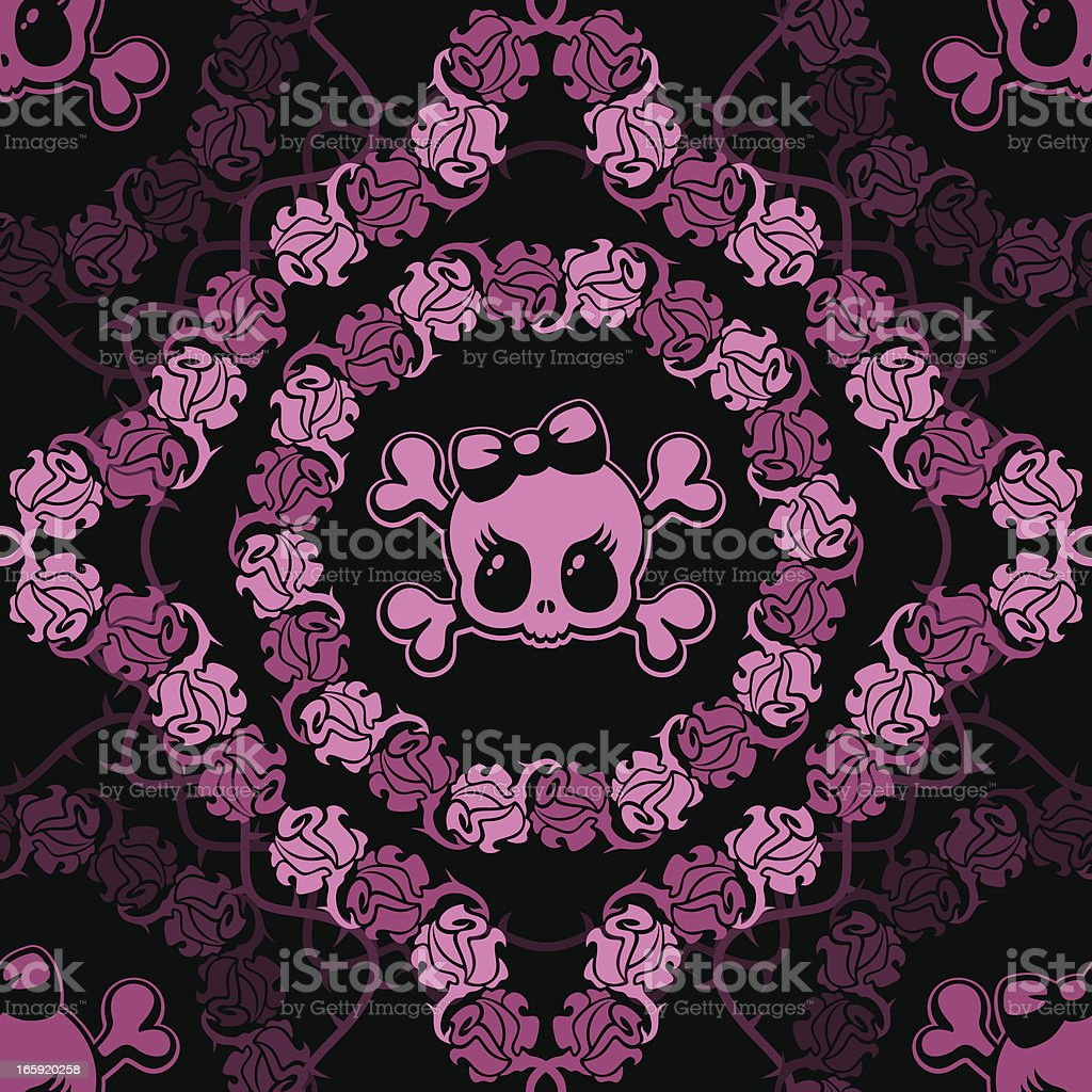 Skulls and Roses seamless background vector art illustration