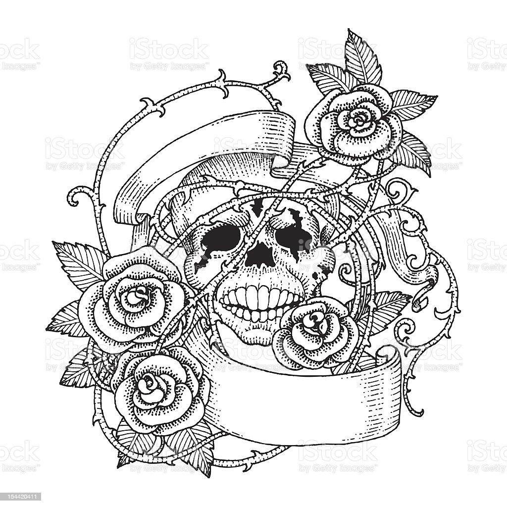 Skulls and Roses vector art illustration