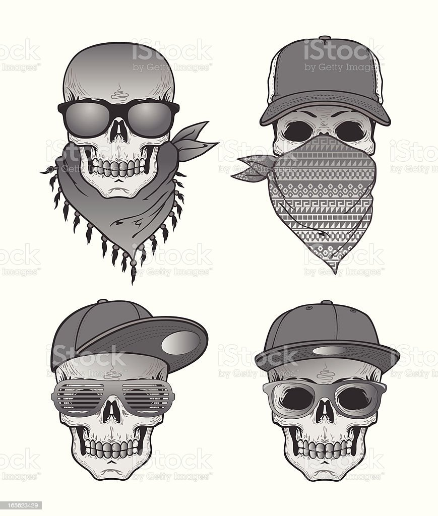 Skulls with hats and sunglasses vector art illustration