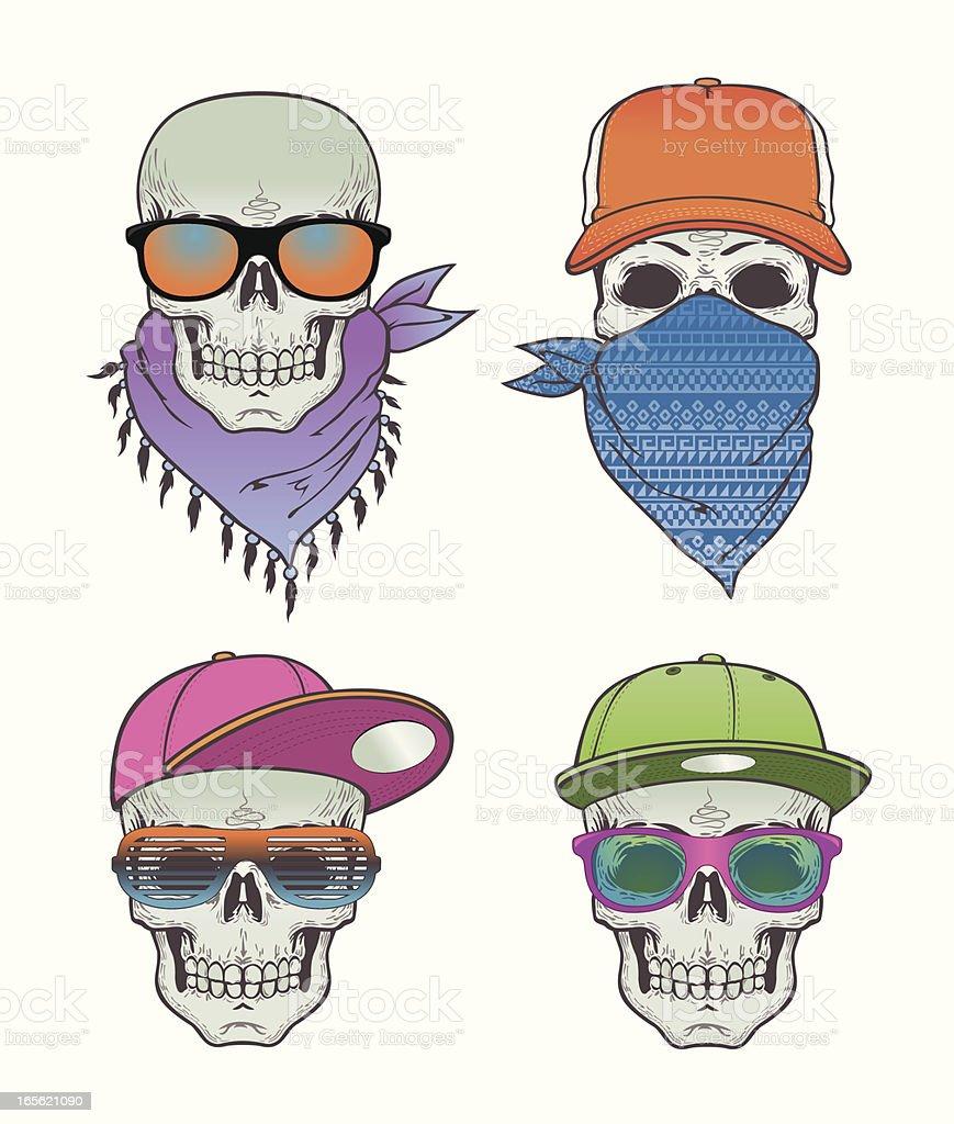 Skulls with hats vector art illustration