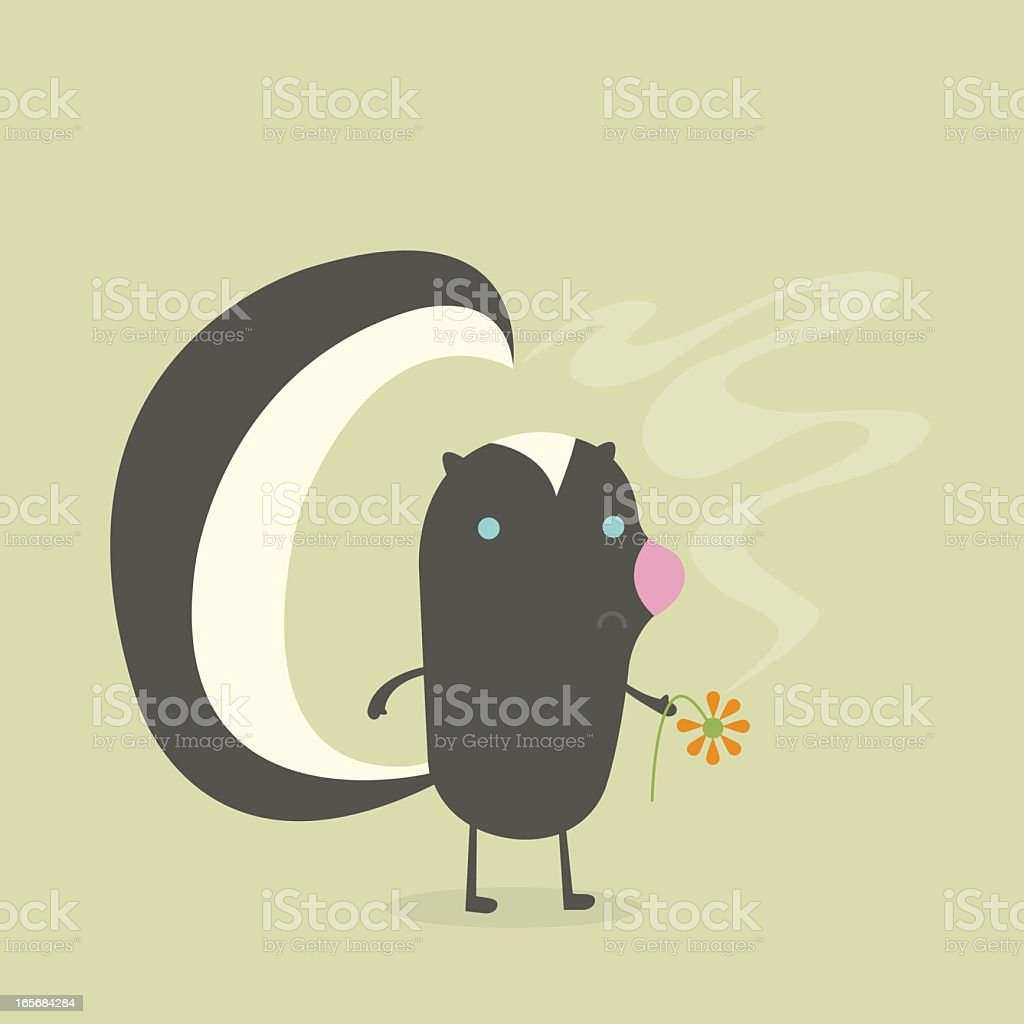 Skunk with Flower royalty-free stock vector art
