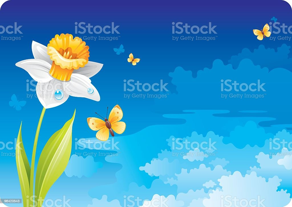 Sky background with daffodil royalty-free stock vector art