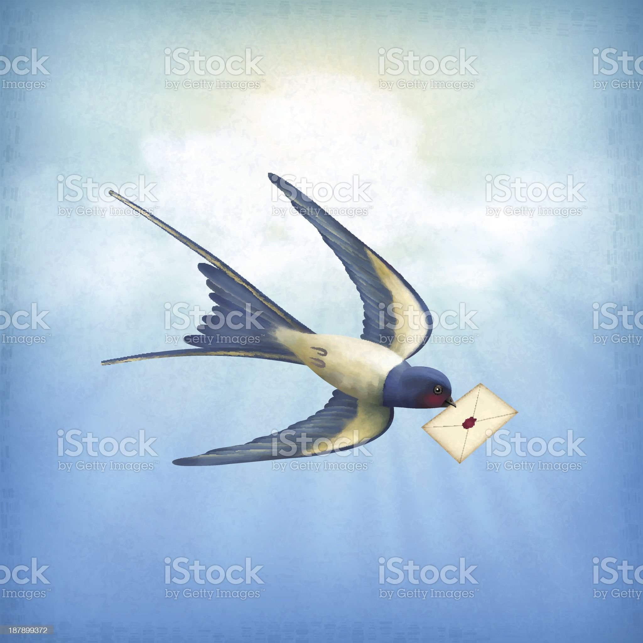Sky Bird Letter Mail royalty-free stock vector art