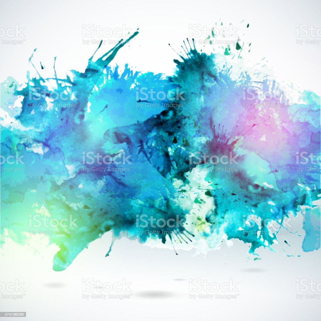 Sky blue centered decorative watercolor background vector art illustration
