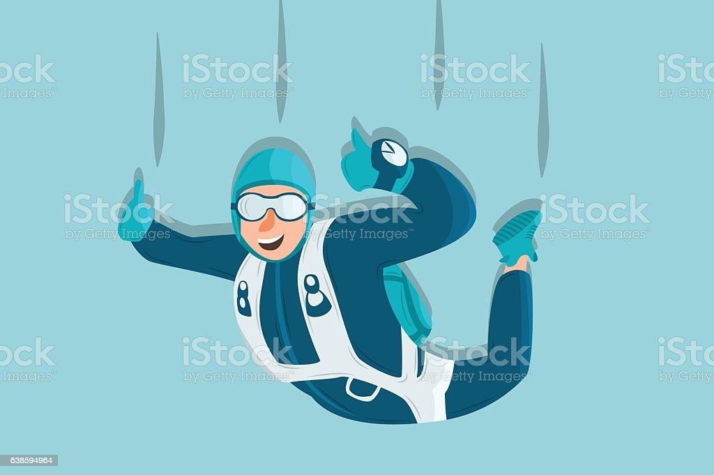 Sky diving cartoon sportsman. Comic character vector art illustration