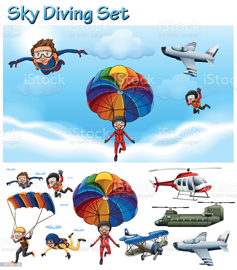 Sky diving set with people and equipment vector art illustration
