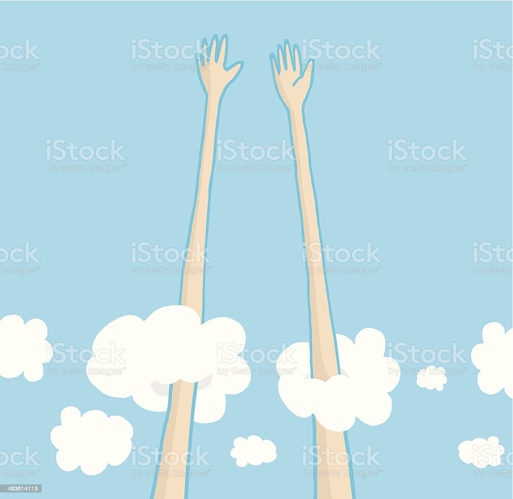 Sky high five above the clouds vector art illustration