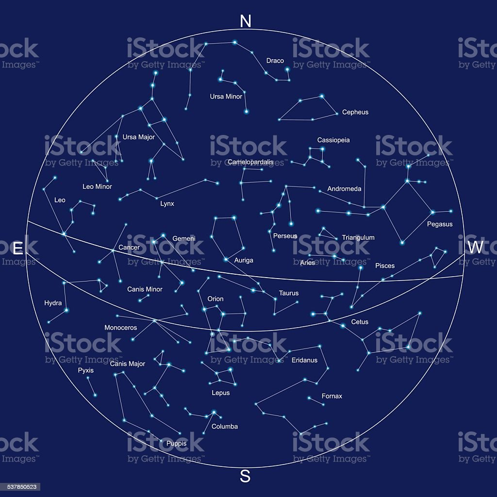 sky map and constellations with titles, vector vector art illustration