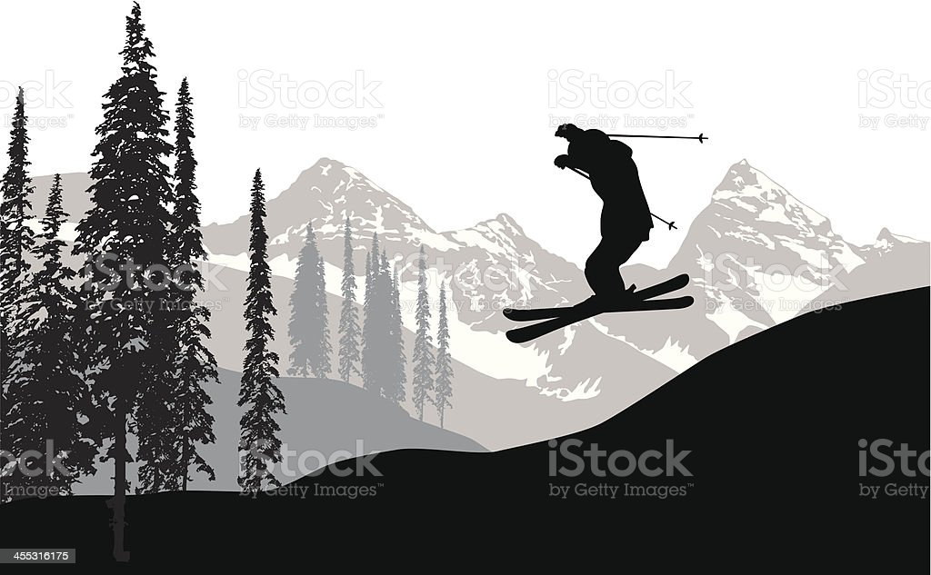 Sky Skiing Vector Silhouette vector art illustration