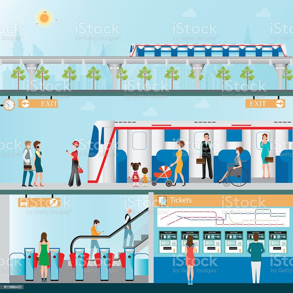 Sky train station with people. vector art illustration