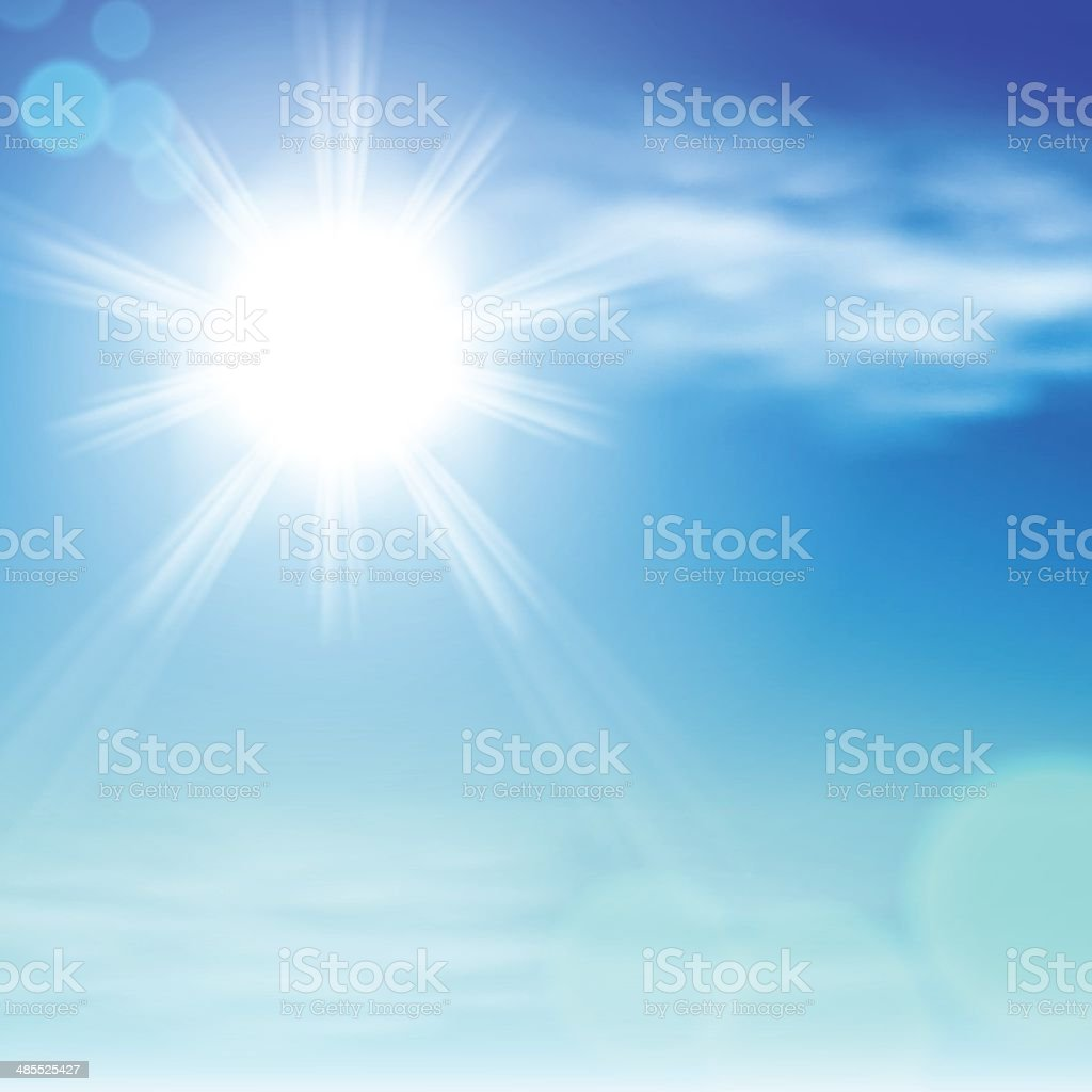 Sky with clouds and the sun royalty-free stock vector art