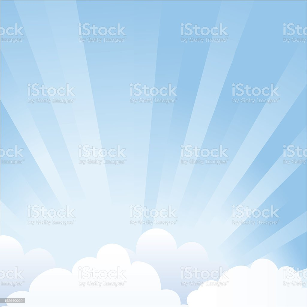 Sky with clouds vector art illustration