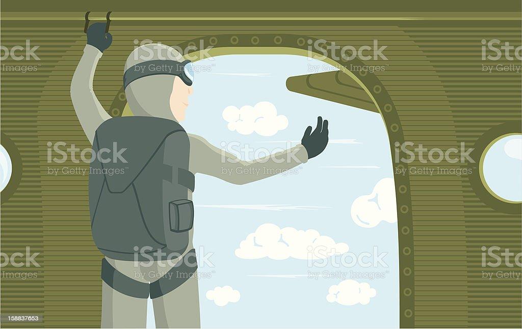 Skydiver before jumping vector art illustration