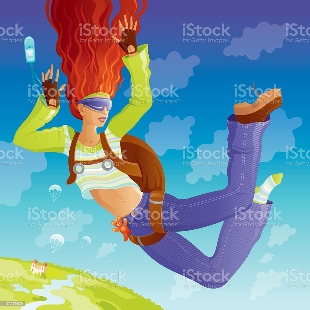 Skydiver girl flying over the Earth royalty-free stock vector art