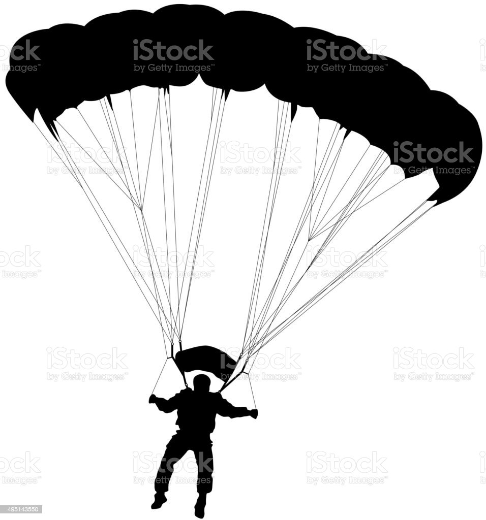 Skydiver, silhouettes parachuting vector illustration vector art illustration