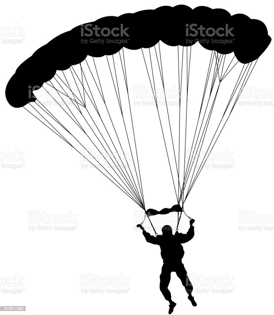 Skydiver, silhouettes parachuting vector illustration. vector art illustration