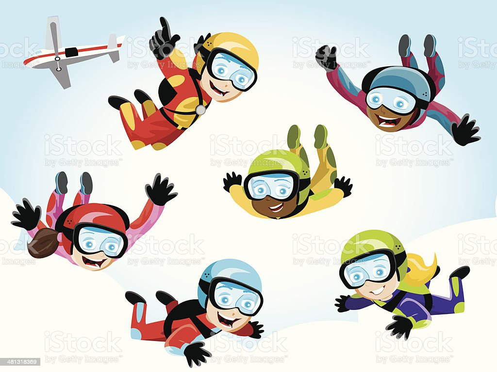 Skydivers vector art illustration