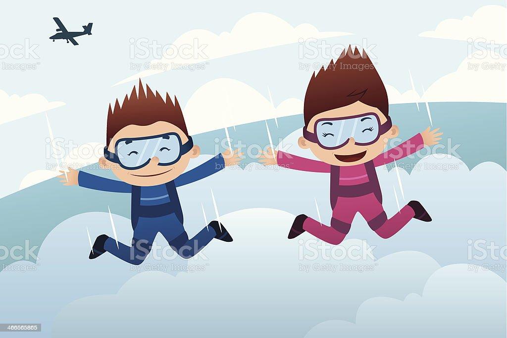 Skydiving couple vector art illustration