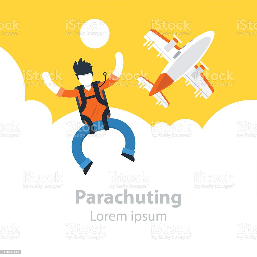 Skydiving extreme sport, parachutist jumped off the plane vector art illustration