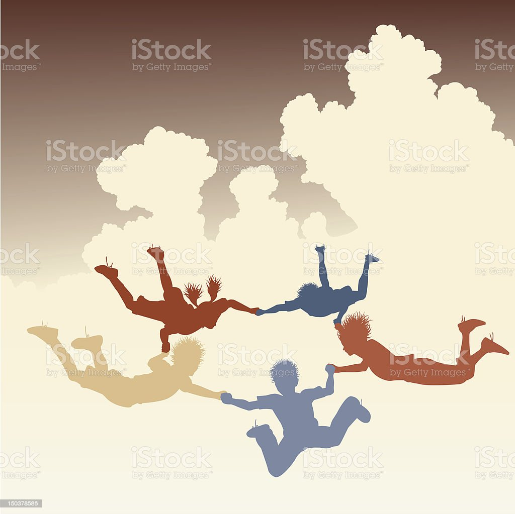 Skydiving friends royalty-free stock vector art