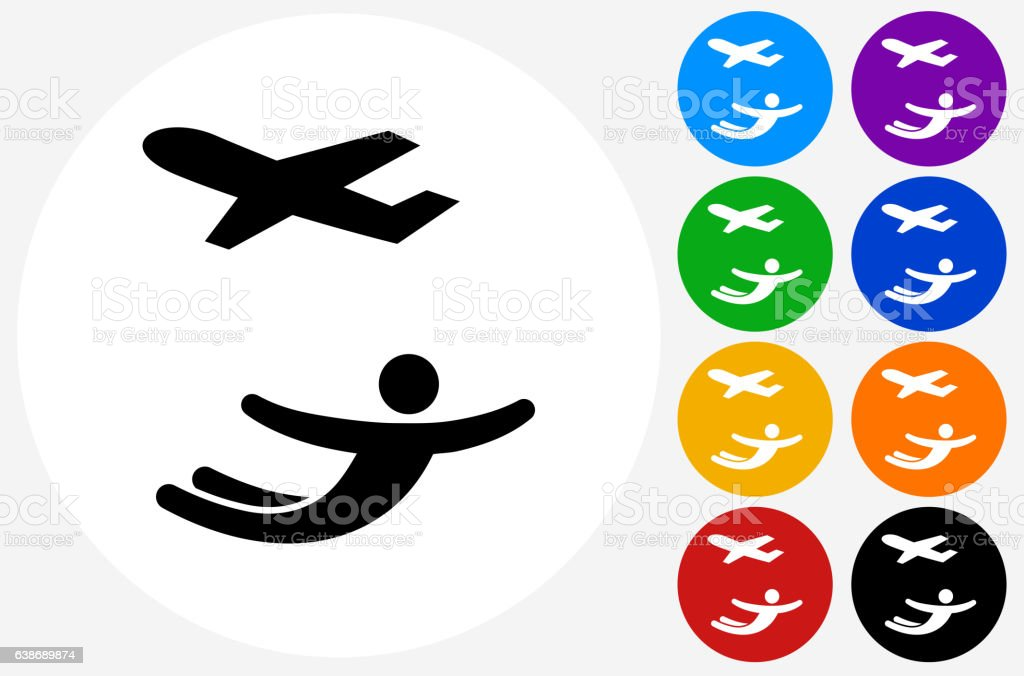 Skydiving Icon on Flat Color Circle Buttons vector art illustration