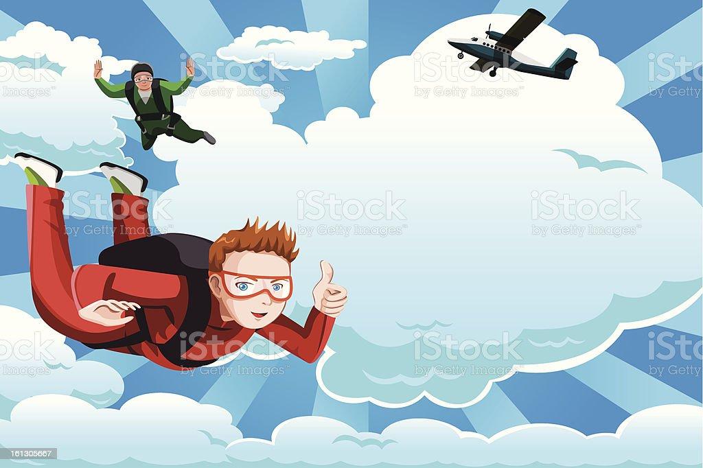 Skydiving vector art illustration