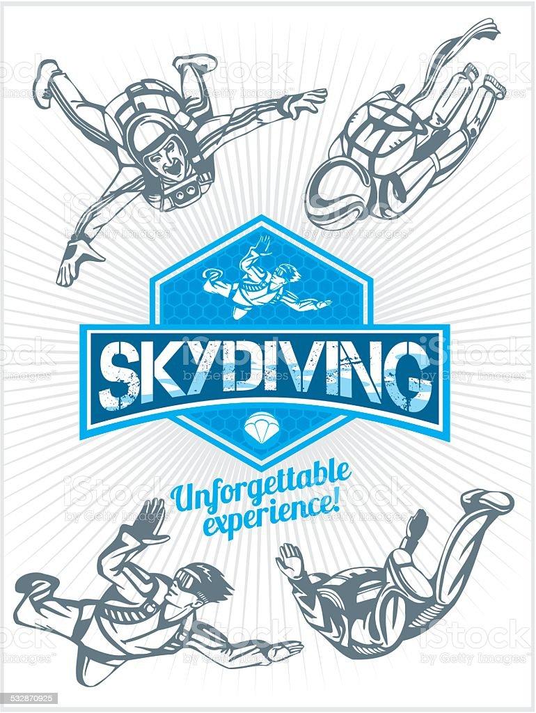 Skydiving. Vector set - emblem and skydivers. vector art illustration