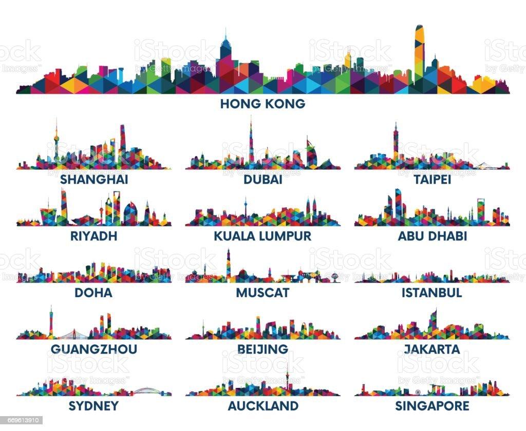 Skyline city Arabian Peninsula and Asia vector art illustration