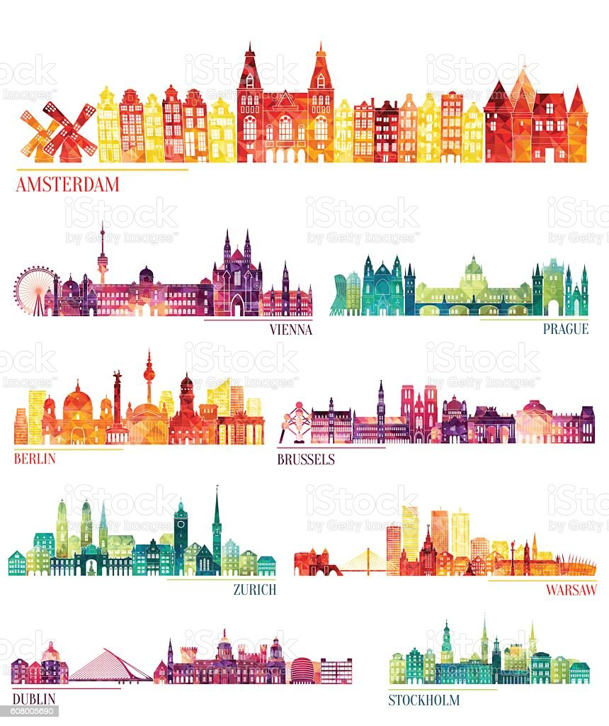 Skyline detailed silhouette set (Amsterdam, Vienna, Prague, Berlin, Brussels, Zurich) vector art illustration