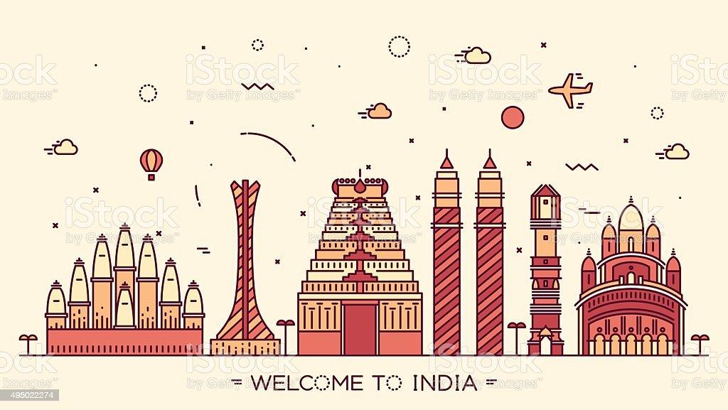 Skyline India silhouette illustration linear vector art illustration