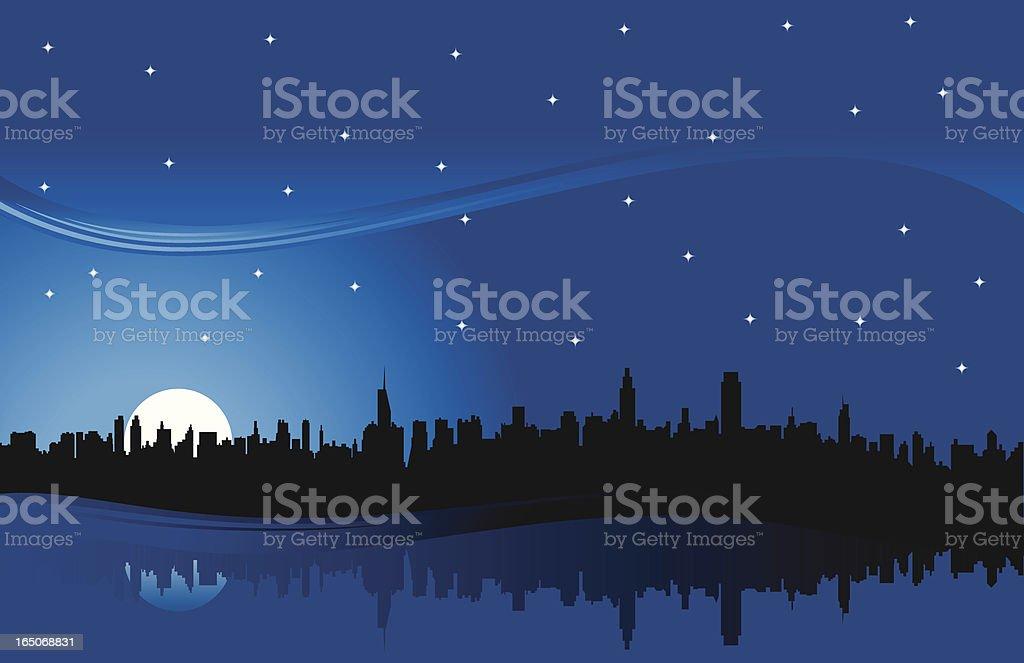 skyline night blue royalty-free stock vector art