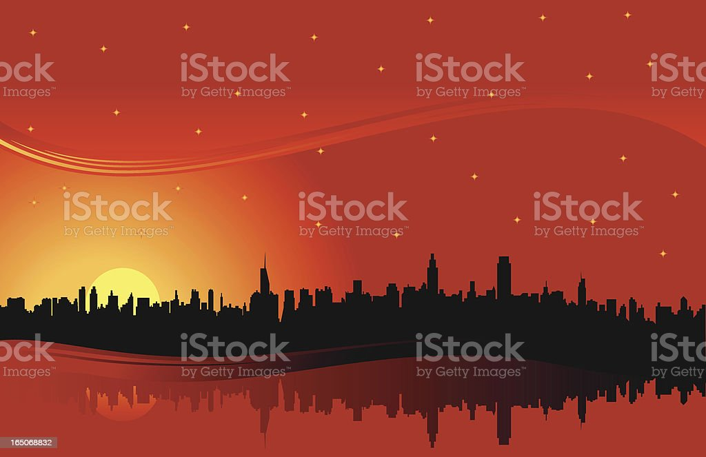 skyline night red royalty-free stock vector art
