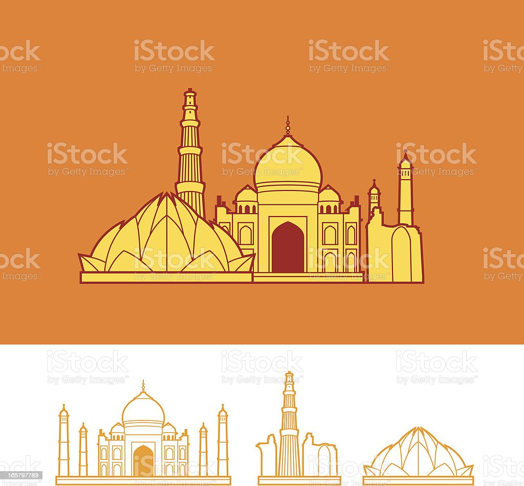 Skyline of India royalty-free stock vector art