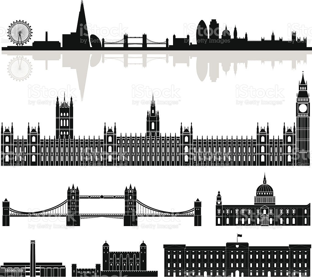 Skyline of London vector art illustration