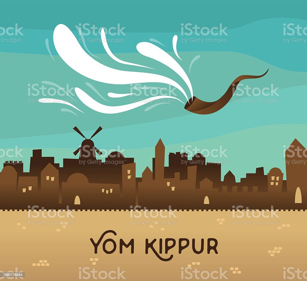 skyline of old city Jerusalem. Yom kippur , Jewish holiday. vector art illustration