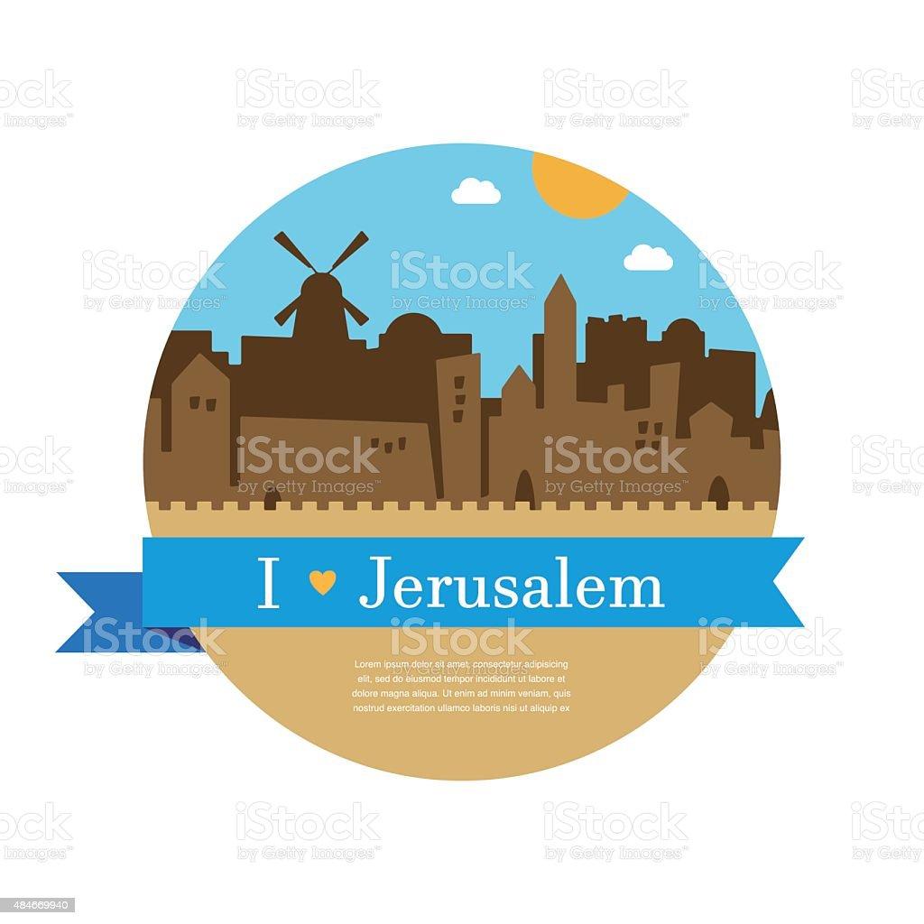 skyline of old city of Jerusalem vector art illustration