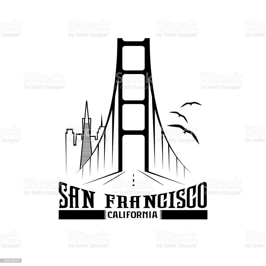 skyline of San Francisco vector design template vector art illustration