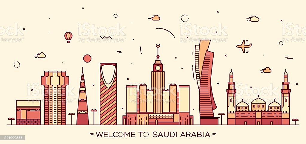 Skyline Saudi Arabia Trendy vector linear style vector art illustration