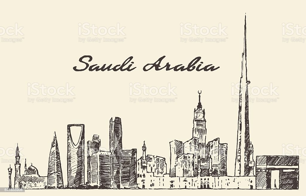 Skyline Saudi Arabia vector drawn sketch vector art illustration