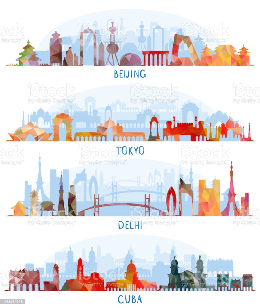 Skyline silhouette set (Beijing, Tokyo, New Delhi, Cuba) vector art illustration