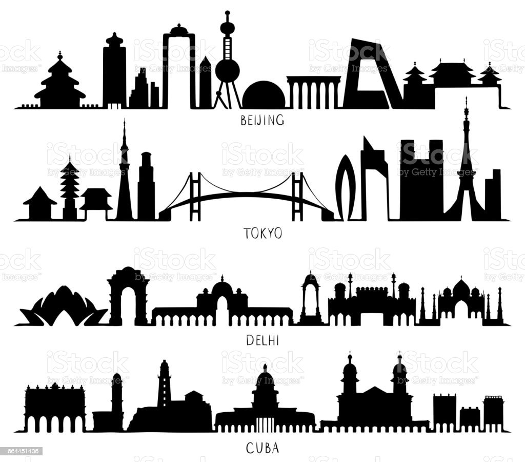 Skyline silhouette with city Landmarks (Beijing, Tokyo, New Delhi, Cuba) vector art illustration