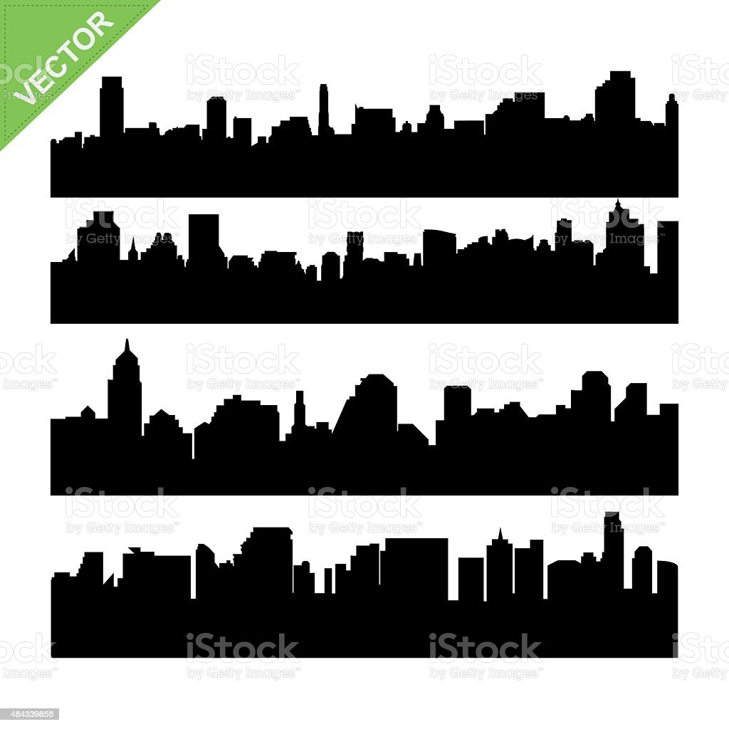 Skyline silhouettes vector vector art illustration