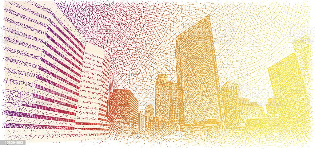 Skyline Sunrise vector art illustration