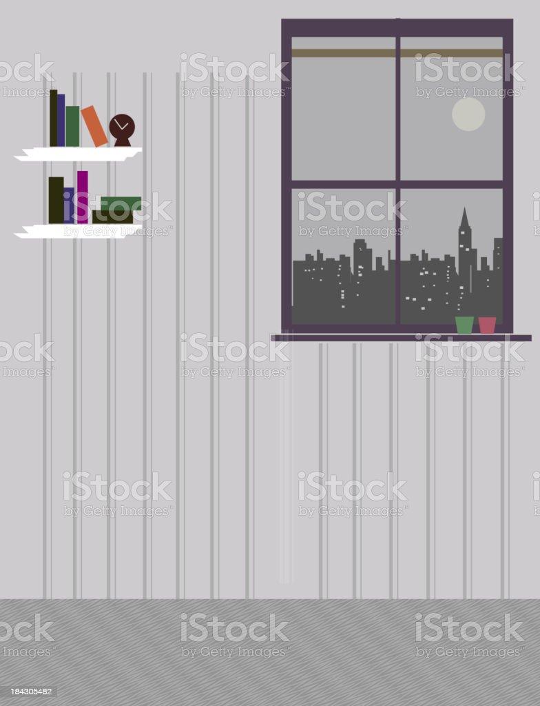 Skyline through window of house vector art illustration