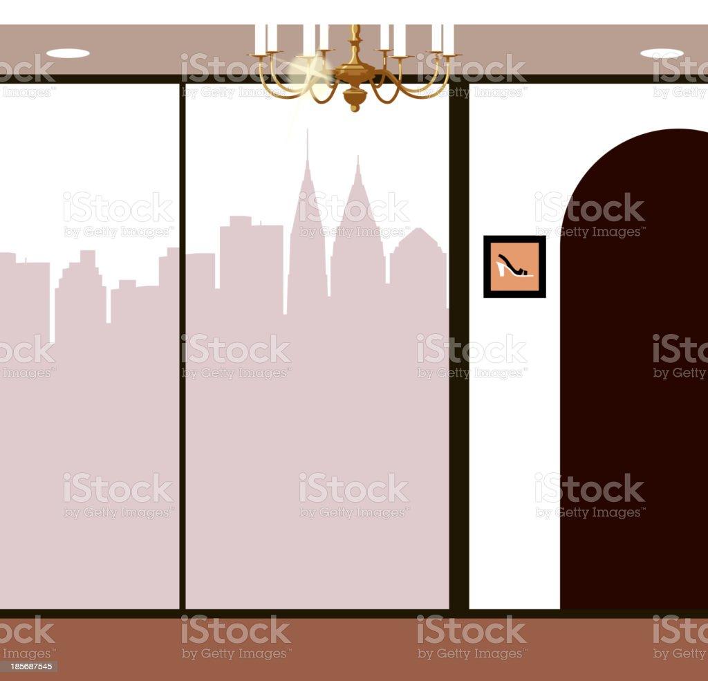 Skyline through window royalty-free stock vector art