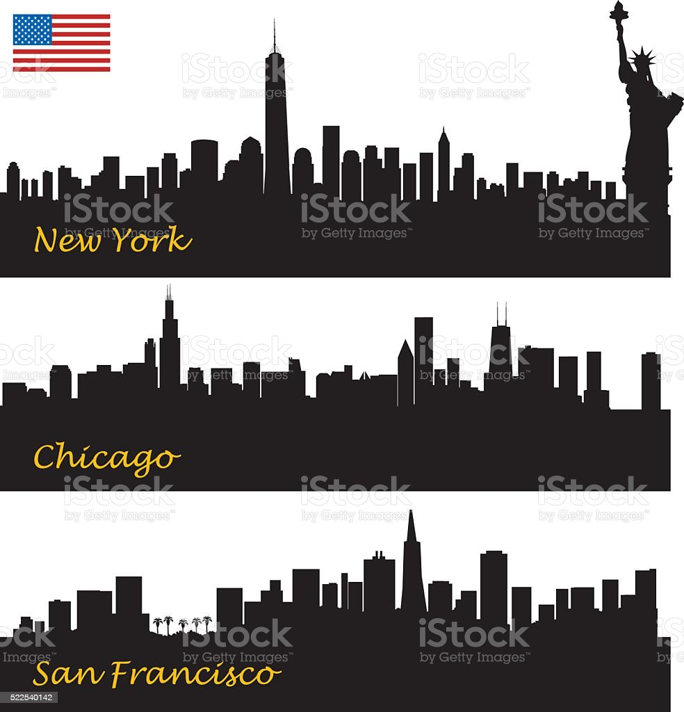 USA Skyline vector art illustration