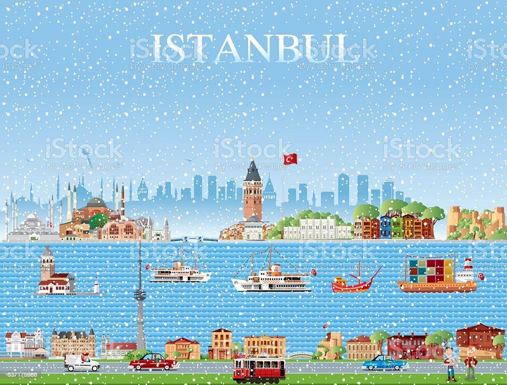 Skyline winter in istanbul vector art illustration