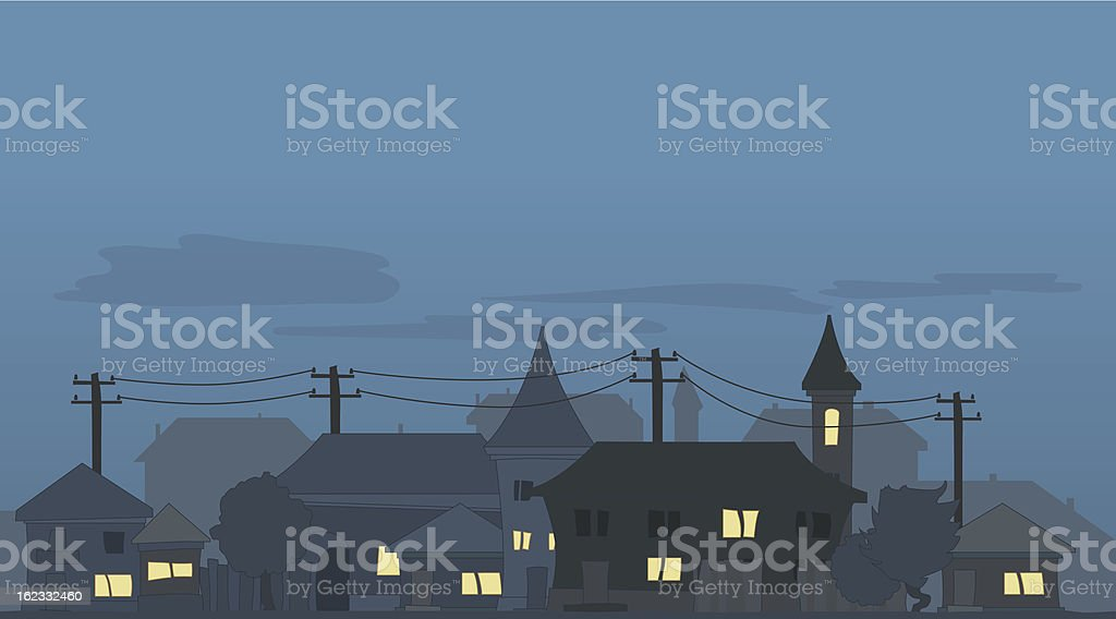 Skyline with illuminated windows at night royalty-free stock vector art